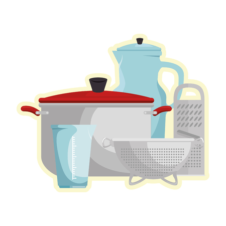 set of kitchen containers vector illustration design 向量圖像