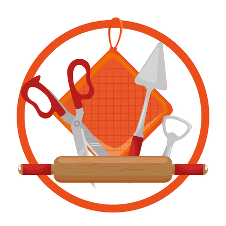 set kitchen equipment emblem vector illustration design 向量圖像