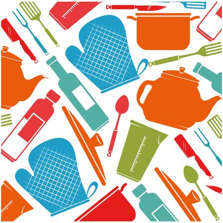 kitchen equipment pattern background vector illustration design Ilustração
