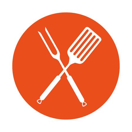fork and spatula kitchen cutlery icon vector illustration design Ilustrace