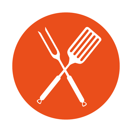 fork and spatula kitchen cutlery icon vector illustration design Illustration