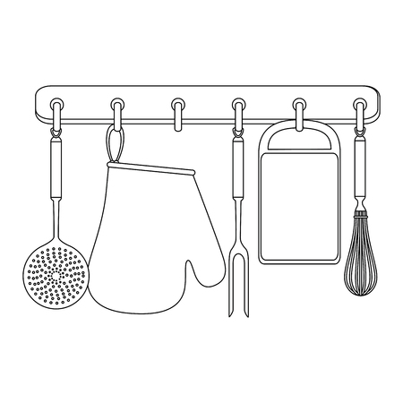 set kitchen equipment hanging vector illustration design Çizim
