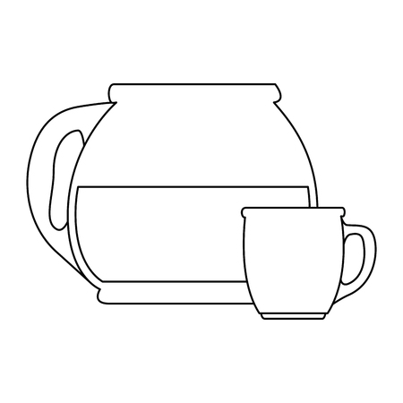 coffee teapot kitchen with cup vector illustration design