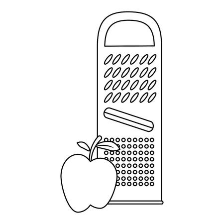 치즈 강판 사과 벡터 일러스트 디자인