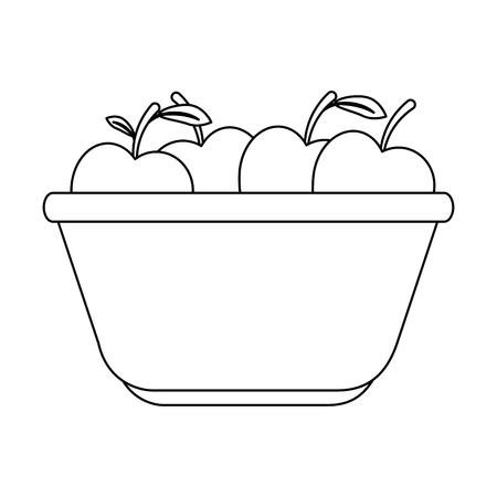 Cocina plato de plástico con manzanas diseño de ilustración vectorial Foto de archivo - 85482765