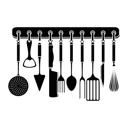 set kitchen equipment hanging vector illustration design Stok Fotoğraf - 85482793