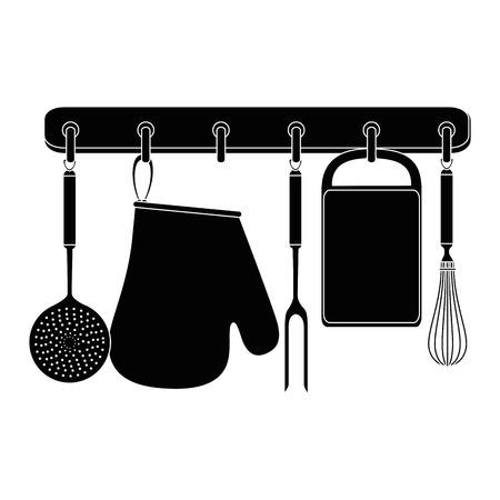 Set l'attrezzatura da cucina che appende il disegno dell'illustrazione di vettore Archivio Fotografico - 85482799