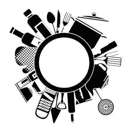 kitchen set equipment emblem vector illustration design Illustration
