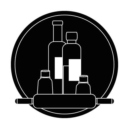 bottles kitchen product icon vector illustration design
