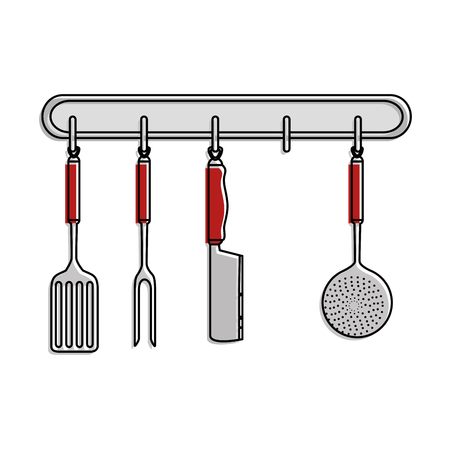 kitchen set equipment hanging vector illustration design Çizim