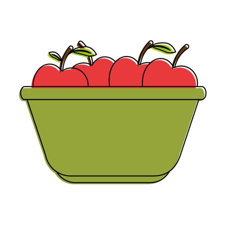 사과 벡터 일러스트 디자인 부엌 플라스틱 그릇 일러스트