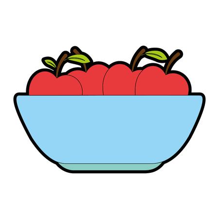 キッチンプラスチックボウルとリンゴベクターイラストデザイン