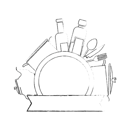 kitchen set equipment emblem vector illustration design Çizim