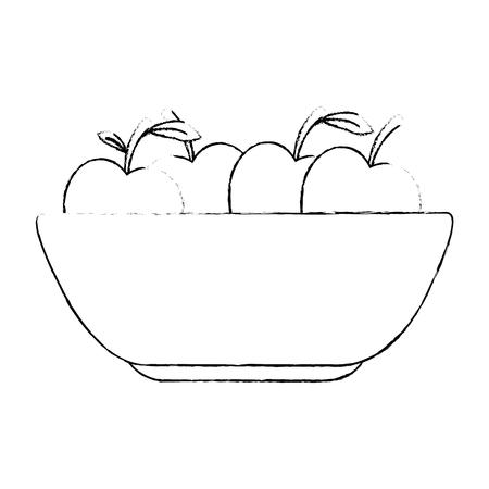 keuken plastic kom met appels vector illustratie ontwerp