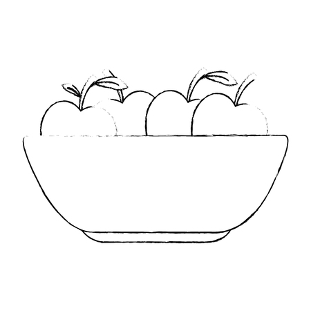 kitchen plastic bowl with apples vector illustration design