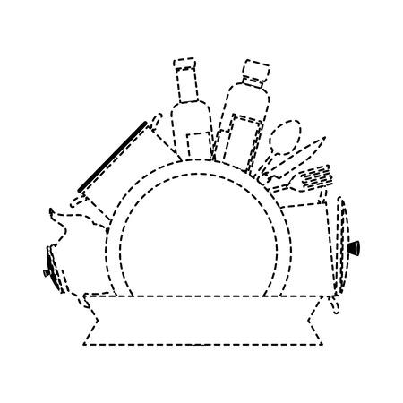 Kitchen set equipment in emblem design