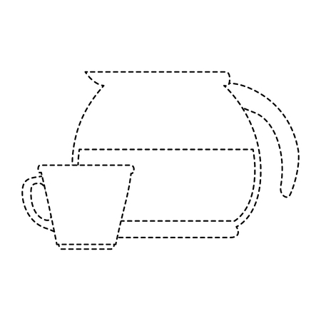 Coffee teapot kitchen with cup Çizim