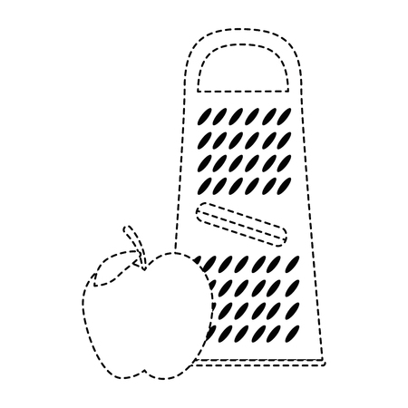 Cheese grater with apple Illustration