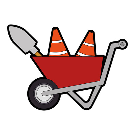 wheelbarrow construction with cones and shovel vector illustration design Illustration