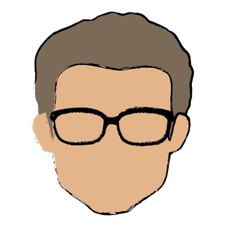 young man head avatar character vector illustration design 向量圖像