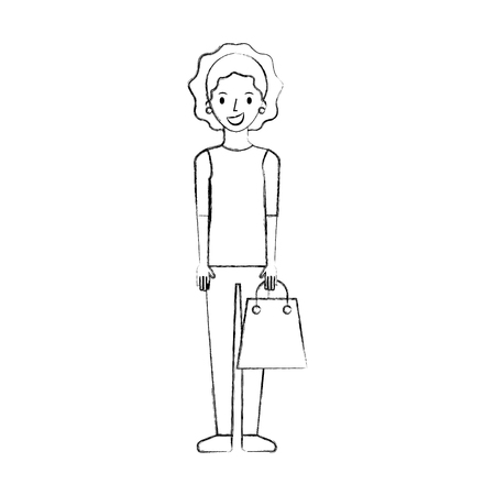 happy young woman with paper bag gift shopping vector illustration 版權商用圖片 - 85615782