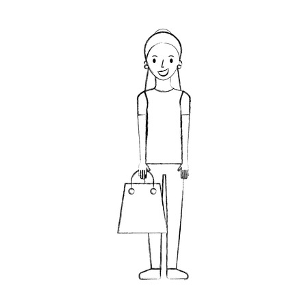 happy young woman with paper bag gift shopping vector illustration Иллюстрация