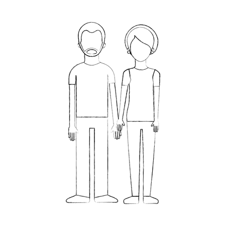 couple of young people man and woman hold hands on a white background vector illustration Illustration
