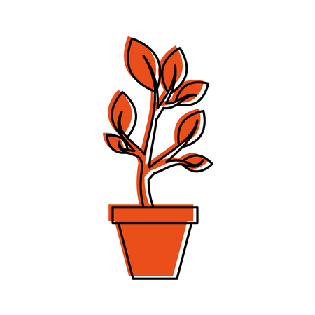 growing tree sprouts rising from ceramic pot concept vector illustration Imagens - 85615820