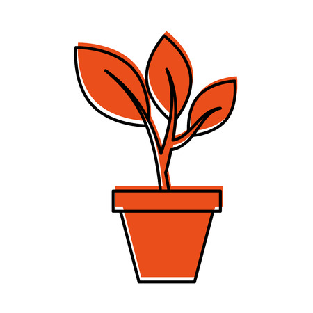 growing tree sprouts rising from ceramic pot concept vector illustration Stok Fotoğraf - 85615821