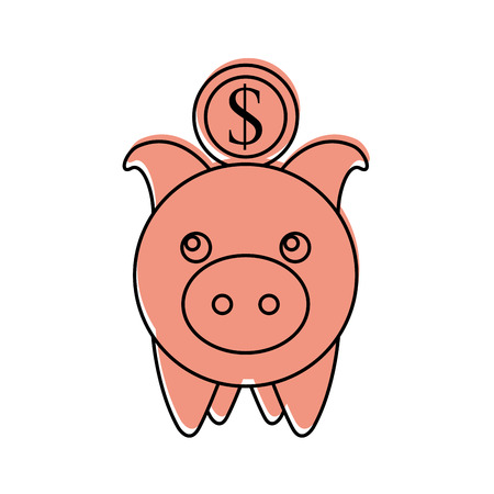 investment piggy coin dollar banking saving vector illustration Stok Fotoğraf - 85615832