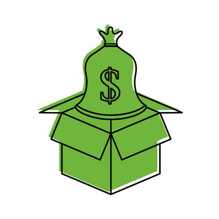 Karton mit Sack Geld speichern Bank Konzept Vektor-Illustration Standard-Bild - 85615834