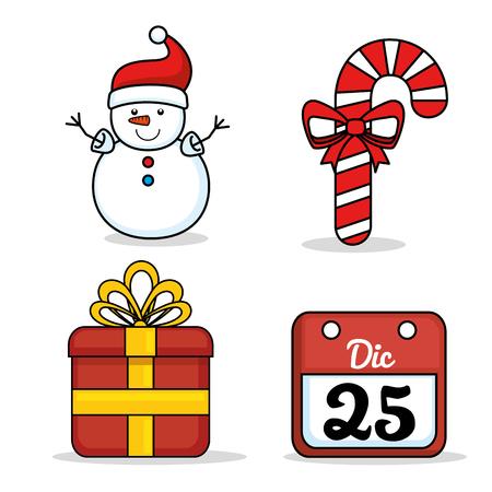 クリスマスの休日の装飾セット ベクトル イラスト グラフィック デザイン  イラスト・ベクター素材