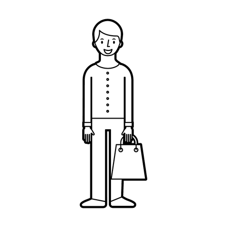 young man holding paper bag shopping vector illustration Stock Vector - 85615931