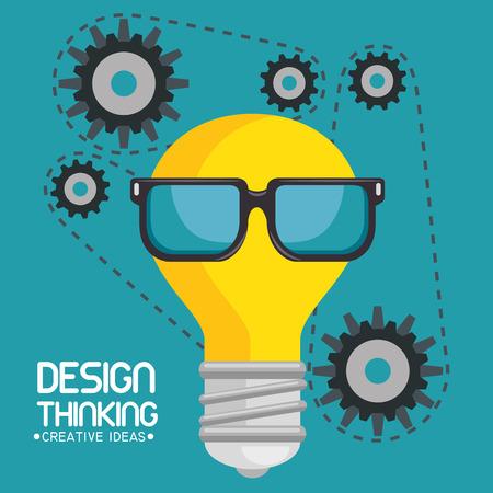 디자인 창의적 아이디어를 생각하는 벡터 일러스트 그래픽 디자인