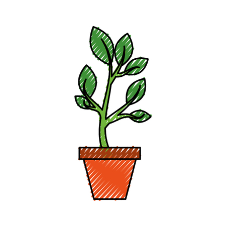 growing tree sprouts rising from ceramic pot concept vector illustration Stok Fotoğraf - 85615999