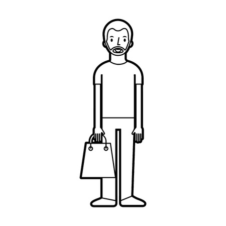 young man holding paper bag shopping vector illustration Stock Vector - 85616002