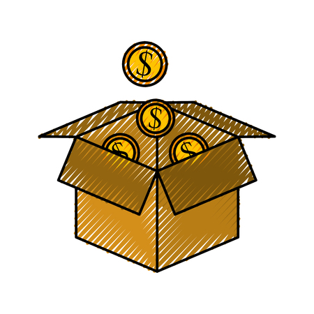 plant growing from coins in a box business make money vector illustration