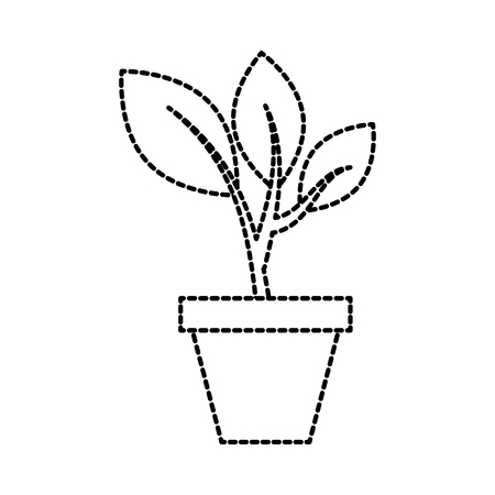 growing tree sprouts rising from ceramic pot concept vector illustration