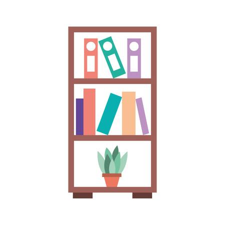 furniture bookcase books folder and pot plant decoration vector illustration Stock fotó - 85615930