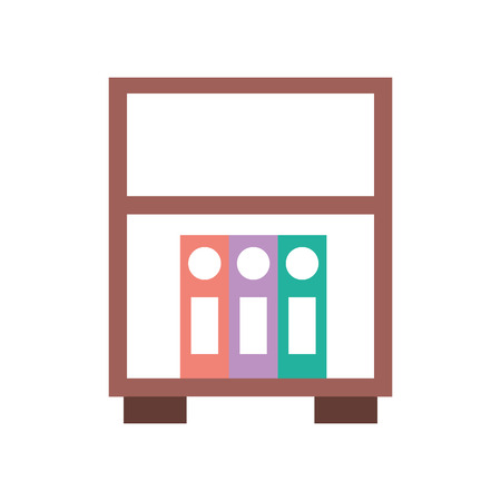 library wooden bookcase of stacked books standing on bookshelves style vector illustration Illusztráció