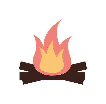 hot and warm bonfire flame wooden vector illustration Illustration