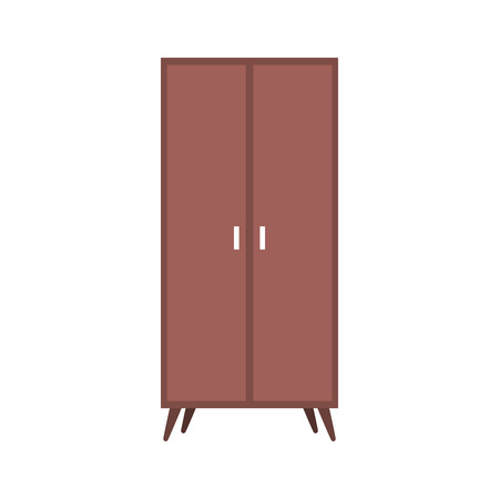 wooden wardrobe furniture home decoration icon illustration