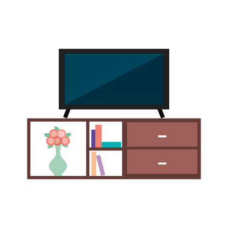 living room interior tv on stand library wooden book shelf flowers drawers vector illustration Illustration