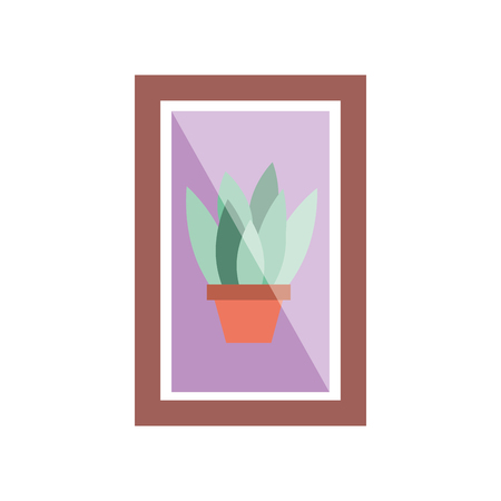 wooden frame with houseplant in vase decoration interior vector illustration