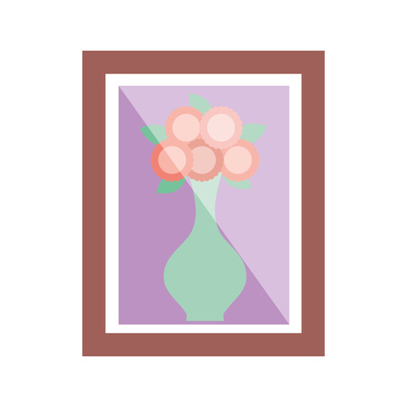 wooden frame with flower in vase decoration interior vector illustration