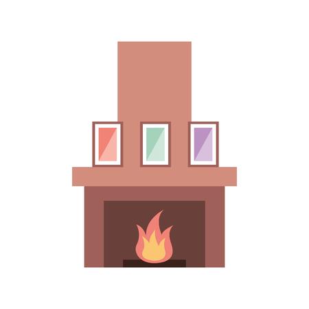 fireplace chimney flame indoor decoration vector illustration