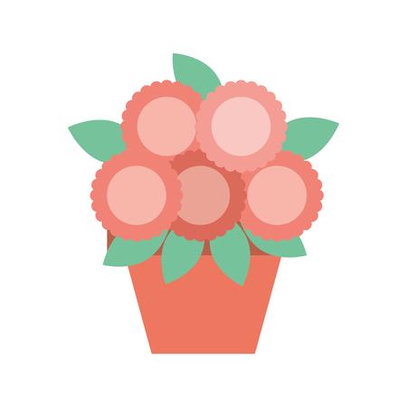 ilustración de vector de interior natural de decoración de flor en maceta