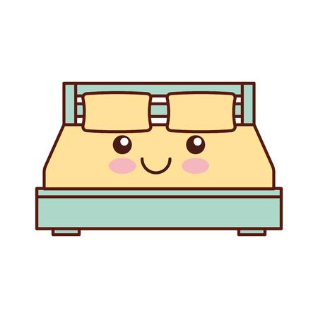 스타일 만화 벡터 일러스트 레이션에 담요 침실 가구와 더블 침대와 베개