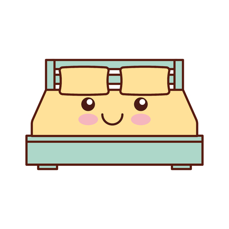 double bed and pillow with blanket bedroom furniture in style cartoon vector illustration Ilustrace