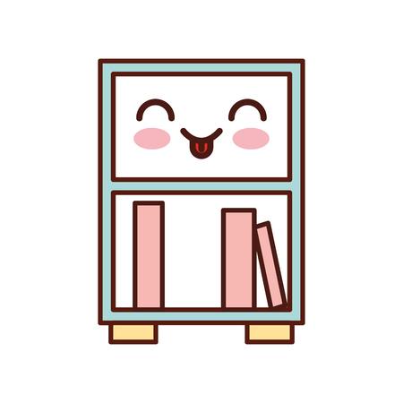 bibliotheek houten boekenkast van gestapelde boeken staan â ? <â ? <op boekenkast stijl vector illustratie Stock Illustratie